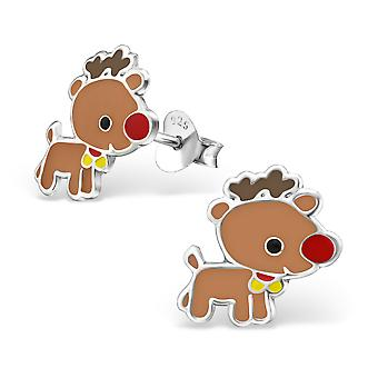 Deer - 925 Sterling Silver Colourful Ear Studs