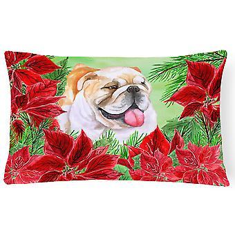 English Bulldog Poinsettas Canvas Fabric Decorative Pillow