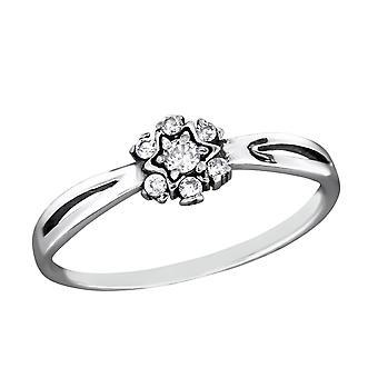 Flower - 925 Sterling Silver Jewelled Rings - W28616X