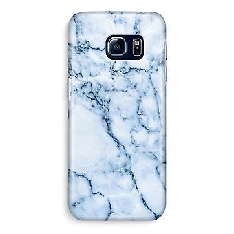 Samsung S6 Edge Full ut fallet - blå marmor