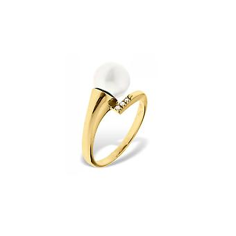 Ring Pearl of Culture of water soft white, diamonds and yellow gold 375/1000