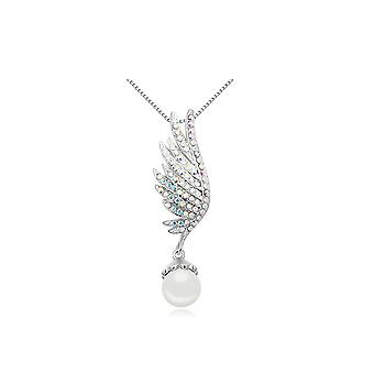 Pendant wing Pearl White and adorned with white Rhodium plate and Swarovski Crystal