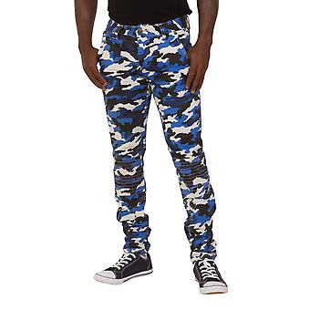 Slim Fit Men's Cargo Trousers - Blue Camouflage Combats Fashion Army Pants