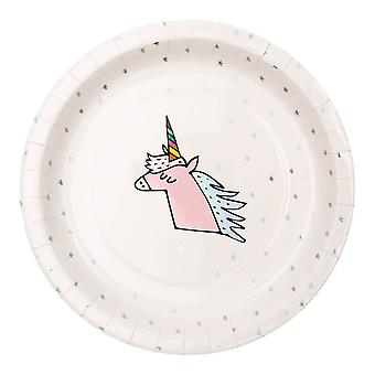 Unicorn Paper Party Plates Pack of 12 White with Silver Foiled Stars