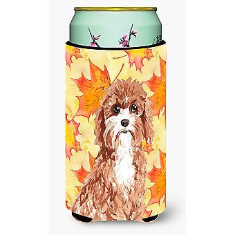Fall Leaves Cavapoo Tall Boy Beverage Insulator Hugger