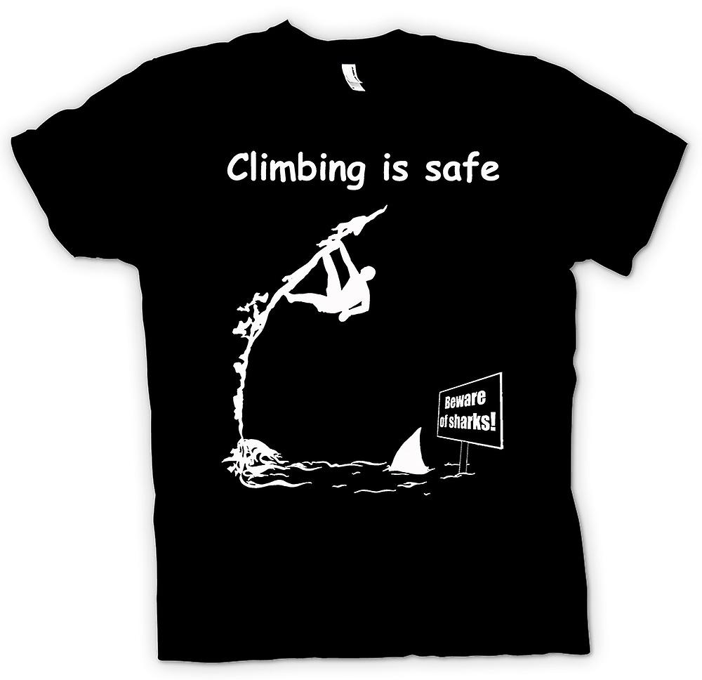 Womens T-shirt - Climbing Is Safe - Beware Of The Sharks