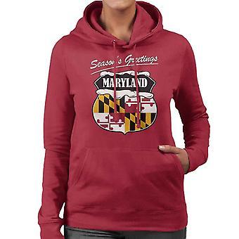 Seasons Greetings Maryland State Flag Christmas Women's Hooded Sweatshirt
