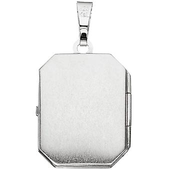 Medallion square pendant 925 sterling silver rhodium plated partly frosted ice pendants