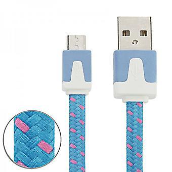 2m USB data og oplader kabel blå for alle Smartphone og Tablet mikro USB