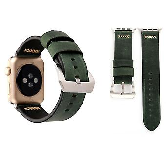 Genuine leather bracelet for Apple Watch series 1 / 2 / 3 38 mm Green