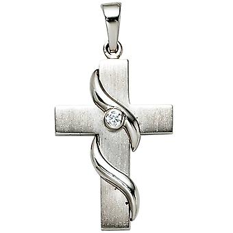 Pendant cross rhodium plated 925 sterling silver 1 cubic zirconia partly frosted