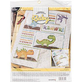 Dino Baby Crib Cover Stamped Cross Stitch Kit-34