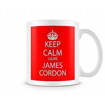 Hålla lugna jag älskar James Cordon tryckt mugg