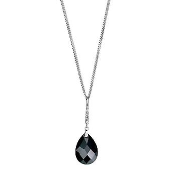 Elements Silver Teardrop and Pave Bail Pendant - Silver/Clear/Black