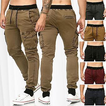 Men's Cargo Trousers Cuffs Casual Jogging Pants Chino Jogger Leisure Cotton