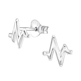 Pulse - 925 Sterling Silver Plain Ear Studs - W28607x