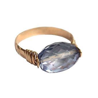 Gemshine - kvinnors - ring - pull-ring - guldpläterad - ametist - blå