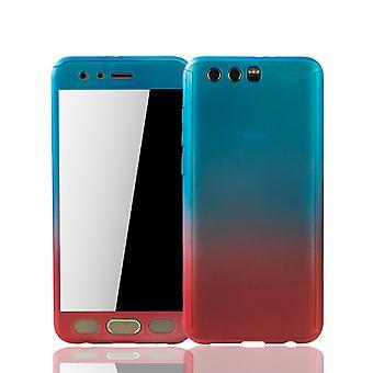 Huawei honor 9 mobila case skydd-fall full tank skydd skyddsglaset blå / röd