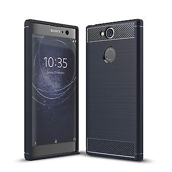 Sony Xperia XA2 TPU Case Carbon Fiber Optik Brushed Schutz Hülle Blau