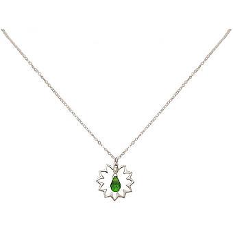 Damen - Halskette - Anhänger - 925 Silber - Mandala - Turmalin Quarz - Tropfen - Grün - YOGA - 45 cm