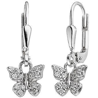Boucles d'oreilles enfants papillon en argent 925 avec zircon boucles d'oreilles, boucles d'oreilles enfants