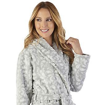 Slenderella HC2351 lusso Fleece Motif Robe Loungewear vasca Vestaglia donna