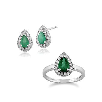 Gemondo 9ct White Gold Emerald & Diamond Pear Cluster Stud Earring & Ring Set