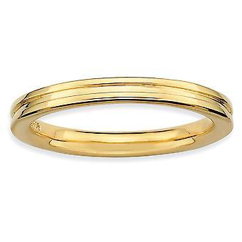 Argento lucido fantasia espressioni impilabile balenò oro anello scanalato - formato dell'anello: 5-10