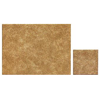 iStyle Set of 4 Metallic Faux Leather Placemats and Coasters, Gold