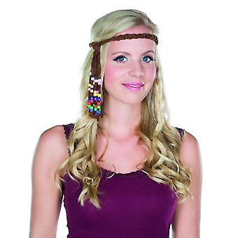 Hippie headband brown colored beads braided accessory Carnival hippy flower child
