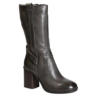 Block heels mid-calf boots in grey italian leather