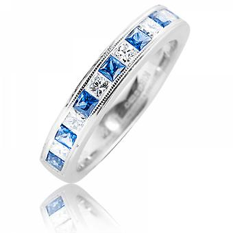 Shipton and Co Half Eternity Ring With Sapphires & Diamonds