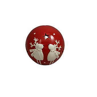 Renos de cerámica roja Portavelas Navidad