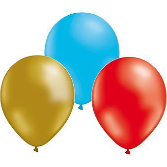 Ballonnen 24-pack-goud/rood/blauw