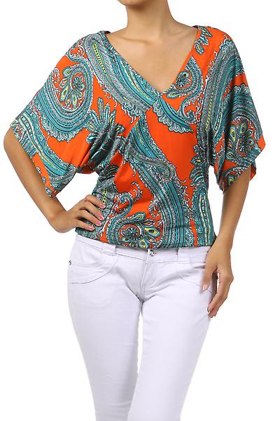 Waooh - Fashion - Top kimono 'Sakura' V-neck and 3/4 sleeves