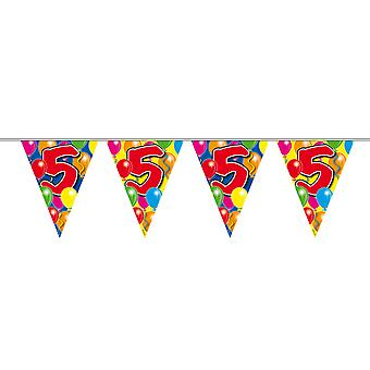 Pennant chain 10 m number 5 years birthday decoration party Garland