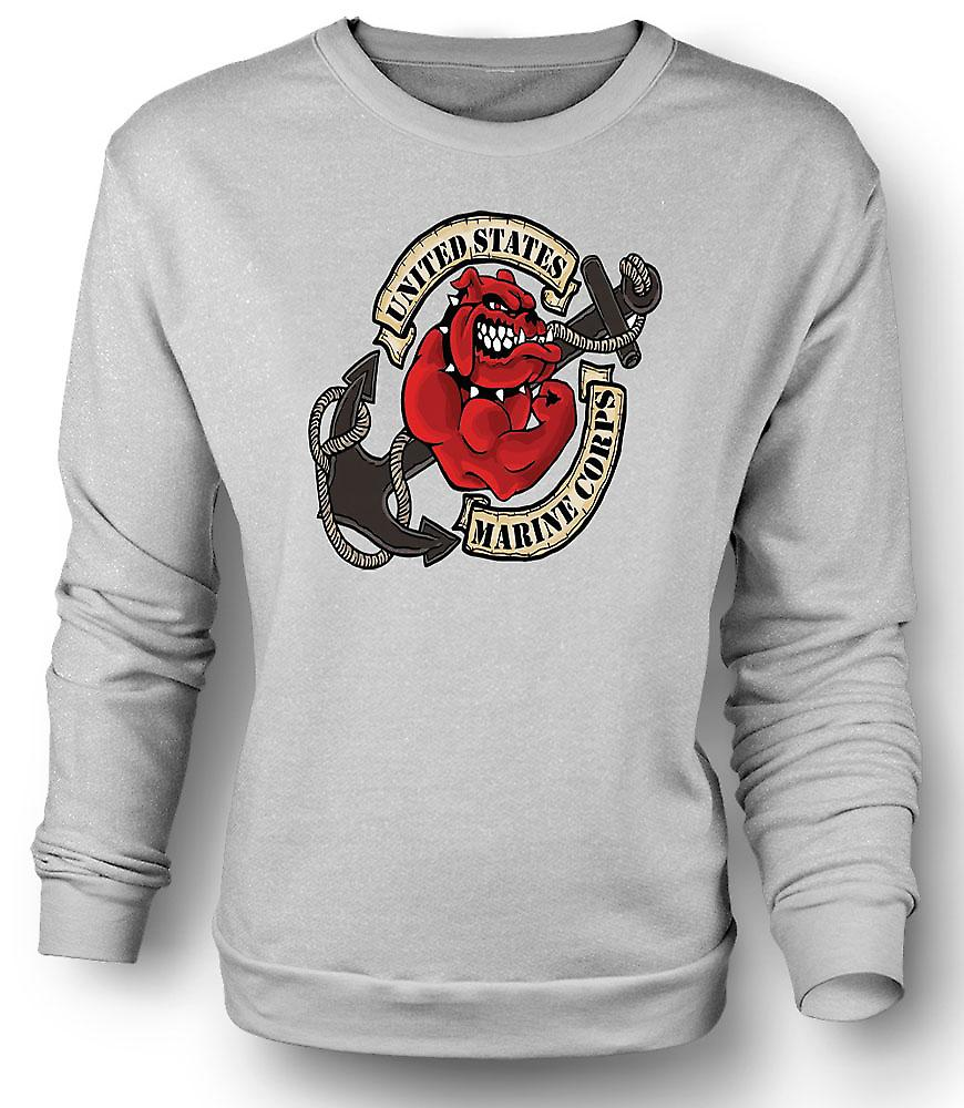 Mens Sweatshirt USMC Marine Corps Bulldog Tattoo