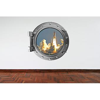 Full Colour Space Shuttle Launch Porthole Wall Sticker
