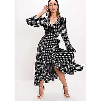 Polka Dot franje Wrap Over Maxi jurk Black