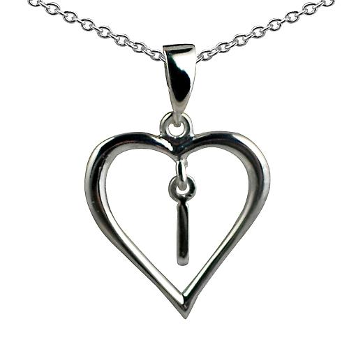 Silver 18x18mm initial I in a heart Pendant with a rolo Chain 16 inches Only Suitable for Children