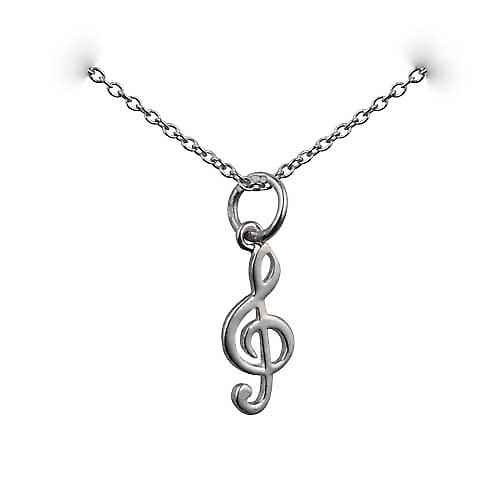 Silver 14x6mm G Clef Pendant with a rolo Chain 14 inches Only Suitable for Children
