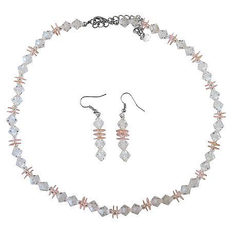 Prom Wedding Bridal Jewelry Set Clear Crystals w/ Peach Daisy Spacer