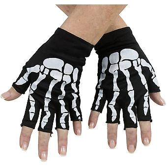 Bone Fingerless Gloves Bk/Pk