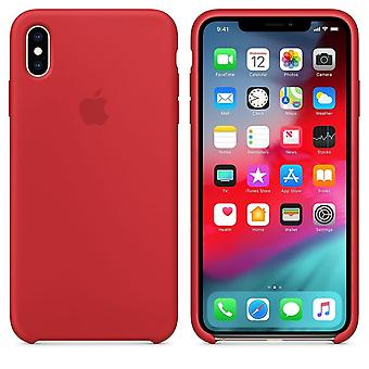 Originalverpackung Apple Silikon Mikrofaser Cover Hülle für iPhone XS Max - rot