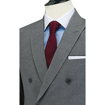 Dobell Mens Light Grey Suit Jacket Slim Fit Peak Lapel Double Breasted