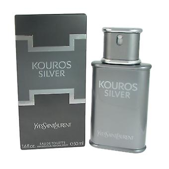 Kouros prata para homens por yves saint laurent 1,6 oz eau de toilette natural spray de