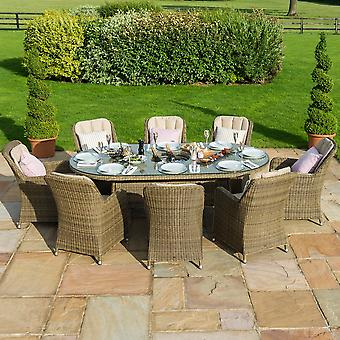Maze Rattan Winchester Venice 8 Seater Oval Dining Set with Ice Bucket
