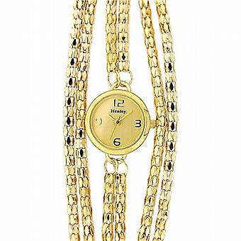 Henley Glamour Gold Tone Multi Chain Bracelet Strap Dress Watch H07179.2