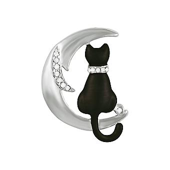 Eternal Collection Cat On The Moon Austrian Crystal And Enamel Silver Tone Brooch