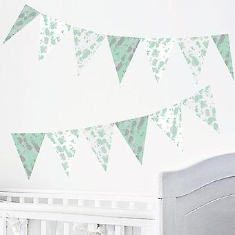 Ink grøn design selvklæbende Bunting Wall sticker